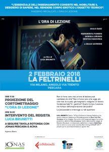 """Manifesto """"L'ora di lezione"""" di Luca BRUNETTI. Proiezione a Pescara venerdì 2 febbraio 2017"""