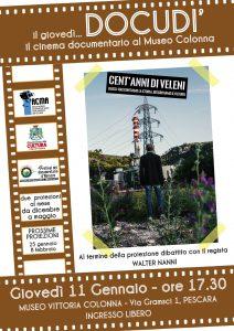 Locandina film cent'anni di veleni di Walter Nanni proiezione a Pescara 11 gennaio 2018