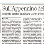 "22 marzo 2018 articolo del quotidiano Il Centro sulla proiezione ""APPENNINO"" di Emiliano Dante"
