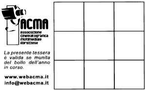 Facsimile della tessera della associazione ACMA. Rretro