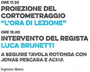 Proiezione L'ora di kezione di Luca Brunetti a Pescara. Organizzato da Jonas Pescara e ACMA