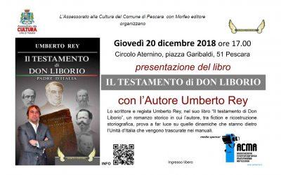 """Giovedì 20 dicembre 2018 presentazione del libro """"il testamento di Don Liborio"""""""