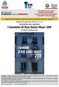 """Giornata della Memoria 2019. Pescara proiezione film """"I bambini di Rue Saint-Maur 209""""ll'ACMA"""