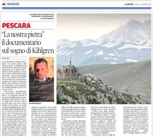 """2 marzo 2019 articolo de Il Centro, pagina Cultura & Spettacoli, sulla proiezione film """"La nostra pietra"""""""