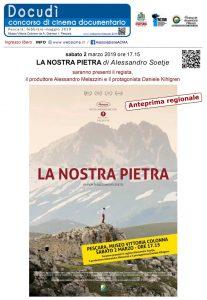 "Manifesto ""La nostra pietra"" di Alessandro Soetje in concorso a Docudì 2019 Pescara sabato 2 marzo 2019"