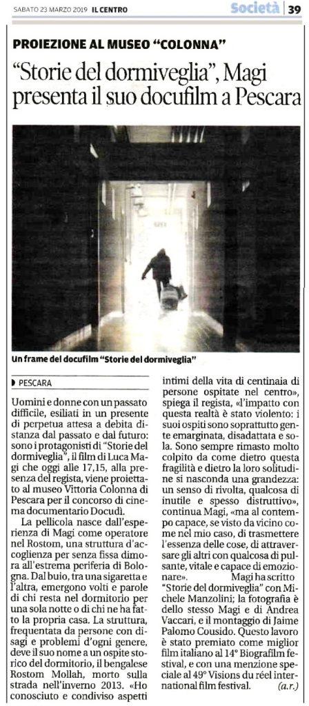 """articolo de Il Centro sulla proiezione """"Storie del dormiveglia"""" di Luca Magi"""