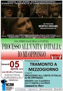 """Manifesto """"Il sole a mezzogiorno"""" Pescara 5 aprile 2019"""