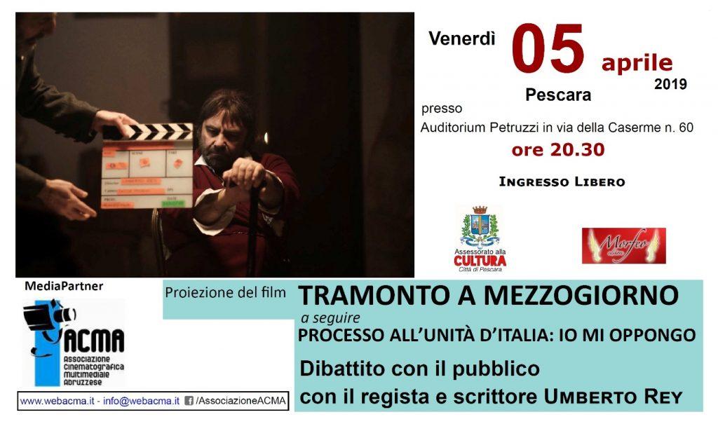 """Manifesto per proiezione """"Il sole a mezzogiorno"""" a Pescara"""