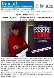 """Locandina proiezione """"Essere Gigione - L'incredibile storia di Luigi Ciaravola"""""""