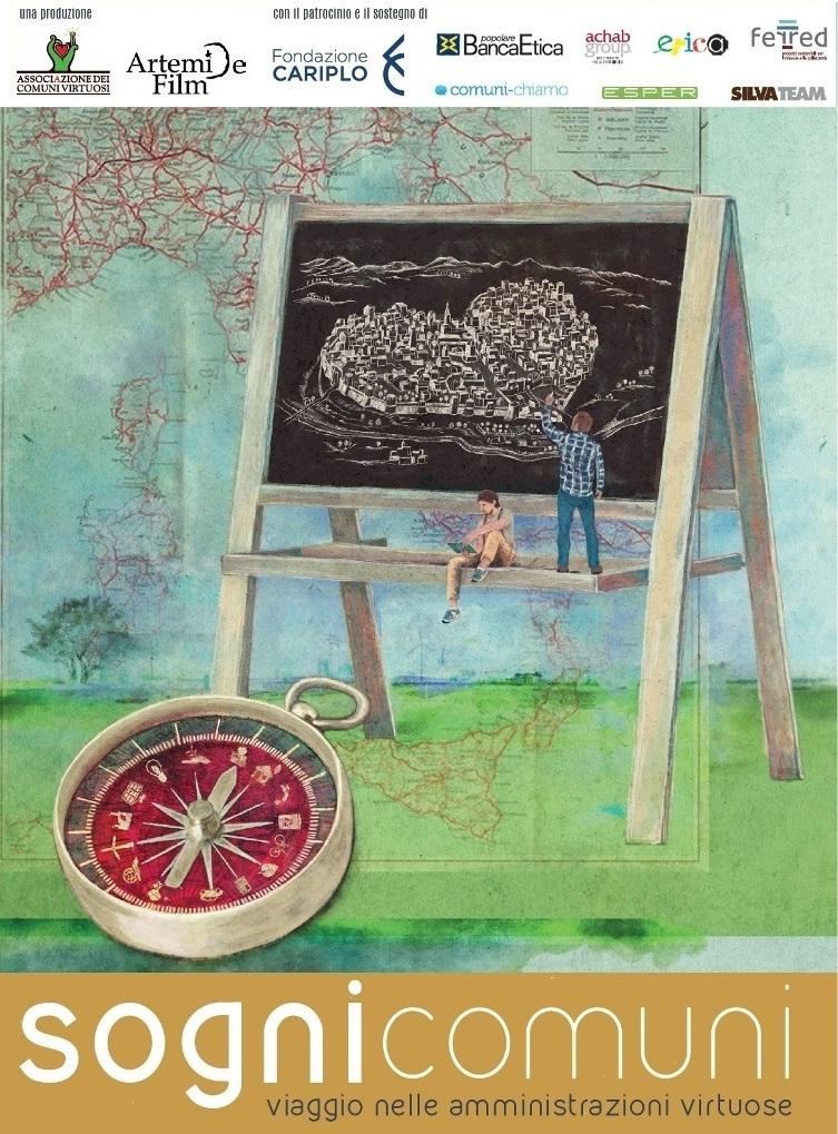 """Manifesto film """"Sogni comuni - Viaggio nelle Amministrazioni Virtuose"""" di Alessandro Scillitani e Paolo Rumiz."""