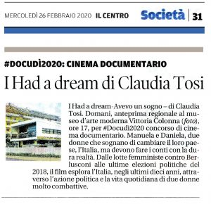 #Docudì2020 I HAD A DREAM